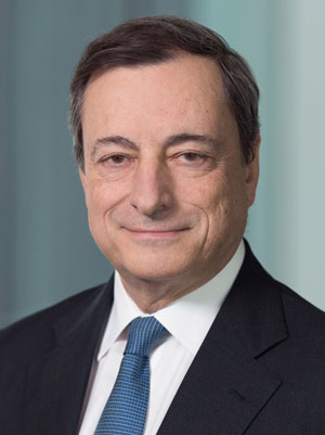 Portrait of Mario Draghi, President of the European Central Bank