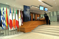 Lobby of the Eurotower with the welcome desk where all visitors have to register upon arrival.