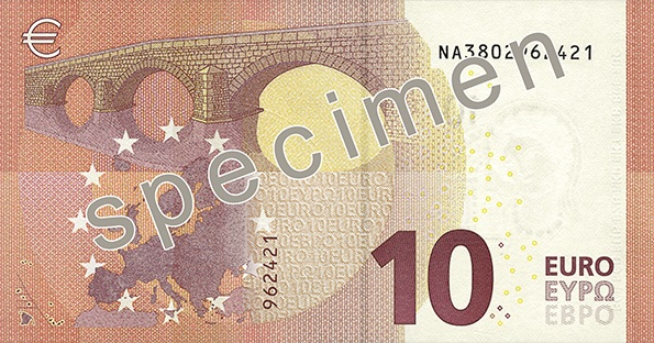 Back of the new €10 banknote