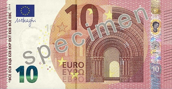 Front of the new €10 banknote