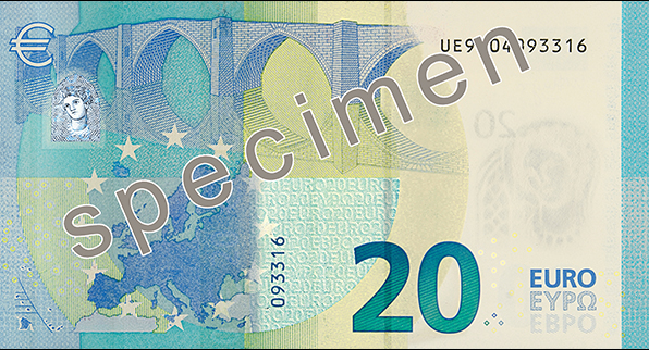 Back of the new €20 banknote