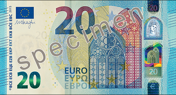 Front of the new €20 banknote