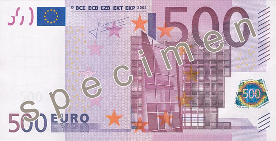 Anverso del billete de 500 euros