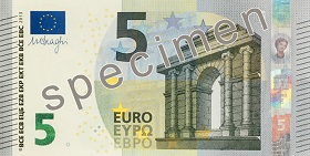Front of €5 banknote, Europa series