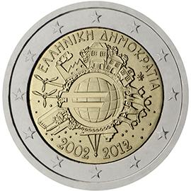 <p>Grecia:</p><p>Diez años de billetes y monedas en euros</p>