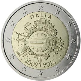 <p>Malta:</p><p>Diez años de billetes y monedas en euros</p>