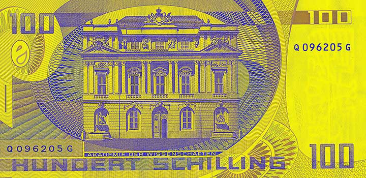 100 schilling banknote backside