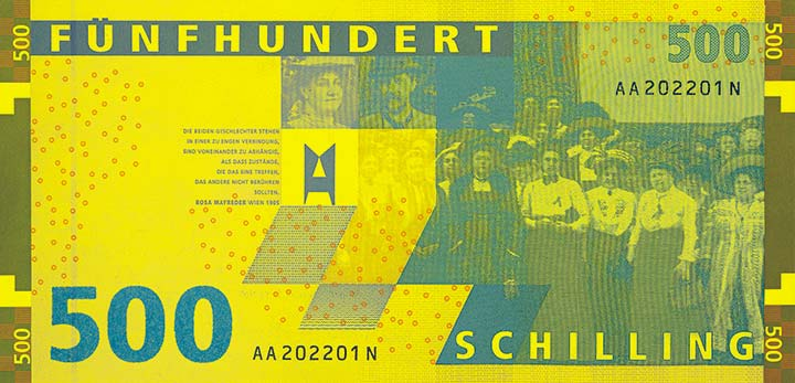 500 schilling banknote backside