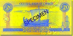 20 Cyprus pound banknote backside