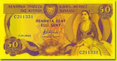50 Cyprus cent banknote frontside