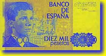 10,000 peseta banknote backside