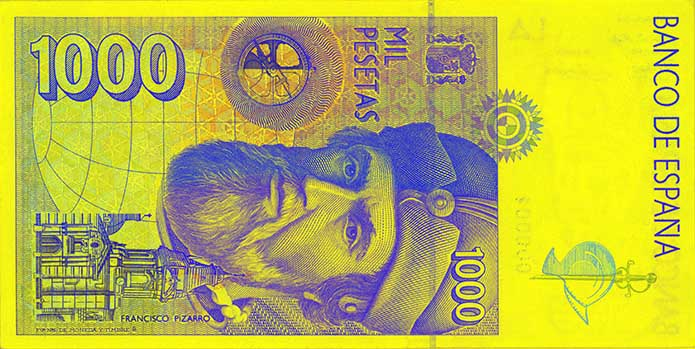 1,000 peseta banknote backside
