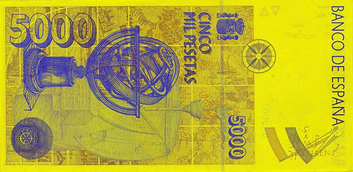5,000 peseta banknote backside