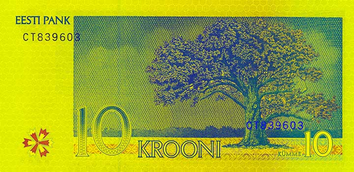10 kroon banknote backside