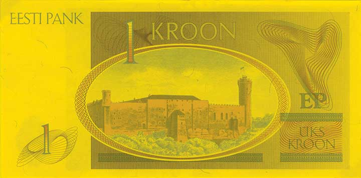 1 kroon banknote backside