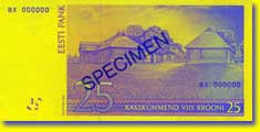 25 kroon banknote backside