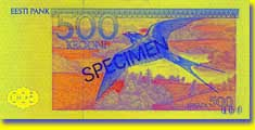 500 kroon banknote backside