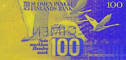 100 markka banknote backside