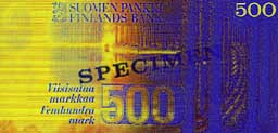 500 markka banknote backside