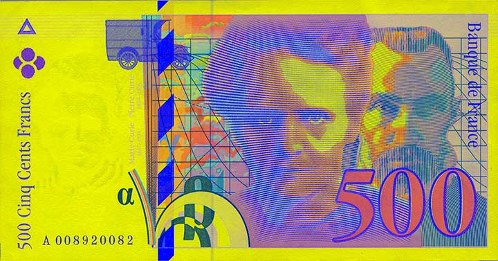 French franc Pierre and Marie Curie