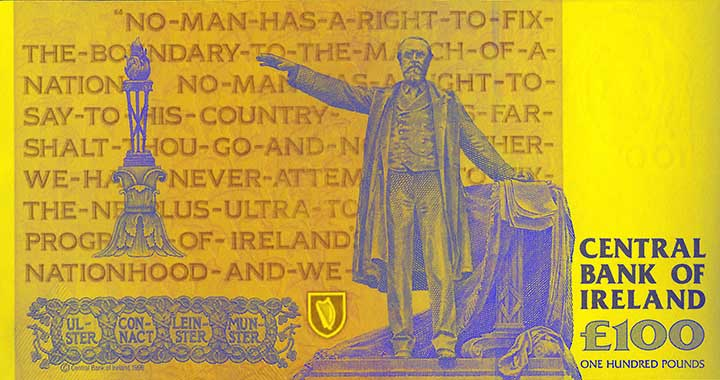 100 Irish pound banknote backside