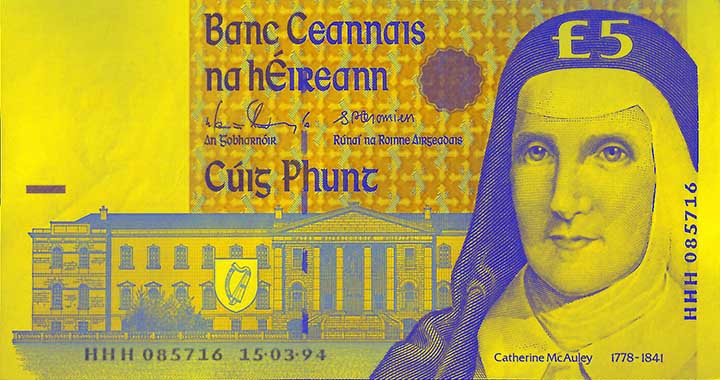 5 Irish pound banknote frontside