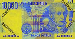 Billete de 10000 liras italianas