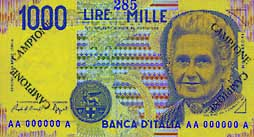 Billete de 1000 liras italianas