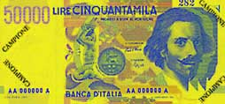 Billete de 50000 liras italianas