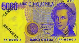 Billete de 5000 liras italianas