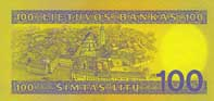 100 litas banknote backside
