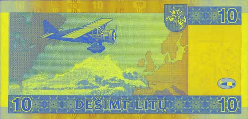 10 litas banknote backside