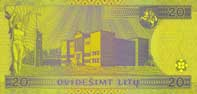 20 litas banknote backside