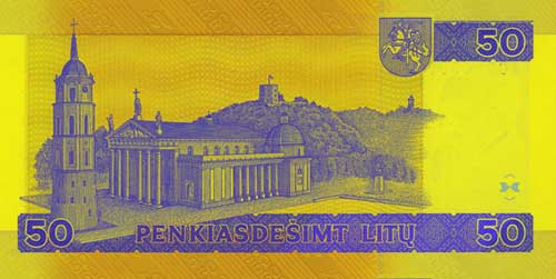 50 litas banknote backside