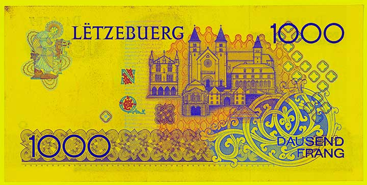 1,000 Luxembourg franc banknote frontside