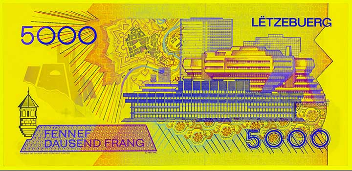 5,000 Luxembourg franc banknote frontside