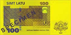 100 lats banknote backside