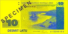 10 lats banknote frontside