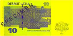 10 lats banknote backside