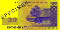 20 lats banknote frontside