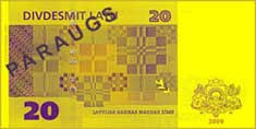 20 lats banknote backside