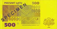 500 lats banknote backside