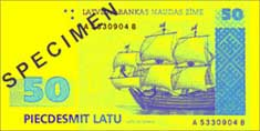 50 lats banknote frontside