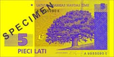5 lats banknote frontside