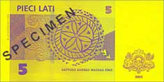 5 lats banknote backside