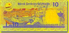 10 Maltese lira banknote backside