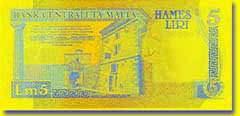 5 Maltese lira banknote backside