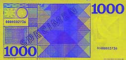 1000 guilder banknote backside