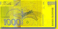 1,000 Slovenian tolar banknote backside