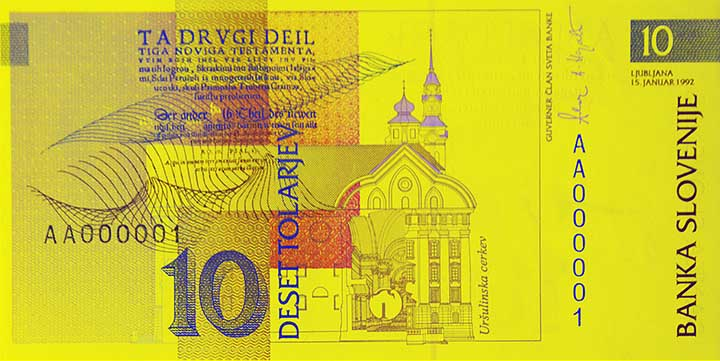 10 Slovenian tolar banknote backside